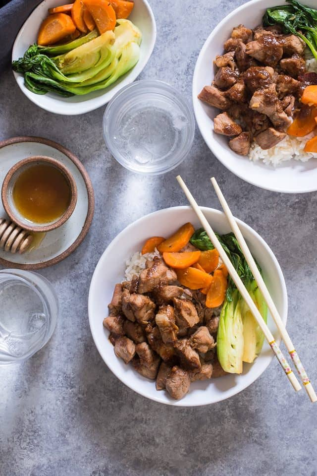 Asian rice bowls with honey soy pork