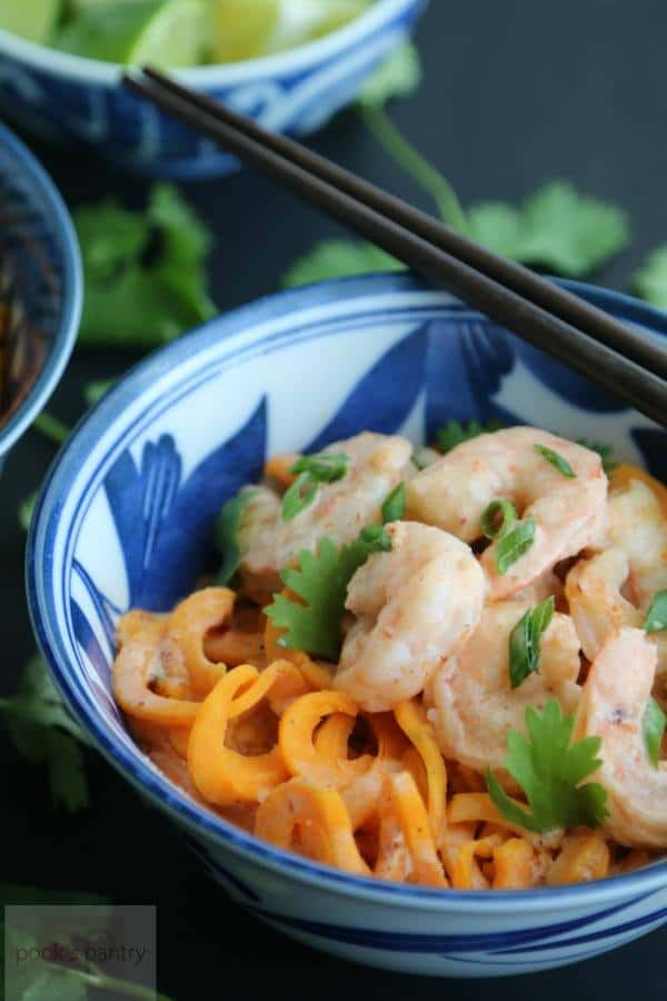 Thai Red Curry Coconut Shrimp and Sweet Potato Noodles