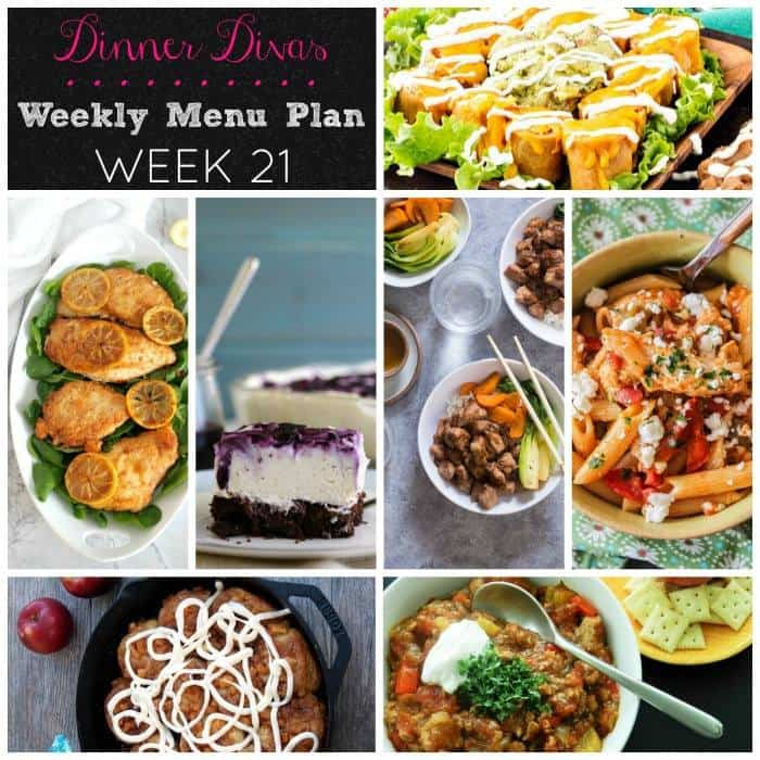 Dinner Divas Weekly Meal Plan, Week 21 features easy comfort food. You and your family will be so happy with these family friendly recipes!