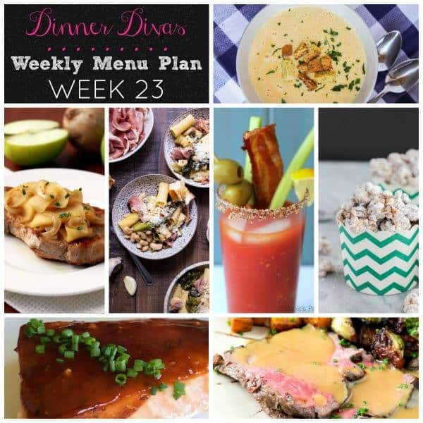 dinner divas weekly meal plan week 23 is full of comfort foods for cooler weather. And some snacks and a Bloody Mary. Enjoy!