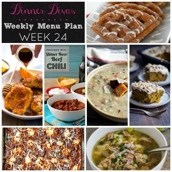 Dinner Divas weekly meal plan post, number 24. This week is all about comfort food recipes: break out your slow cooker, your Instant Pot and your waffle maker and get ready to have dinner In The Bag this week! | pastrychefonline.com