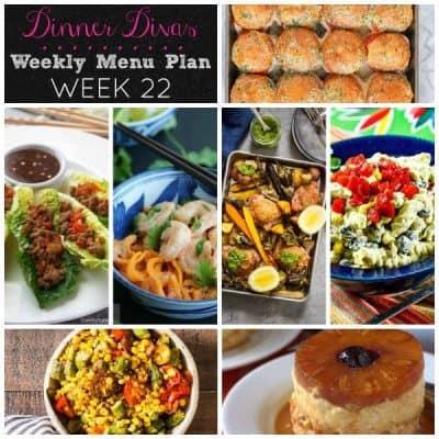Dinner Divas Weekly Meal Plan, Week 22 | 5 Mains, 2 Sides