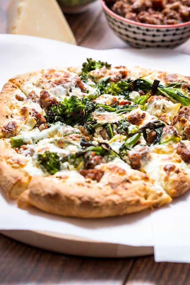 broccoli rabe and sausage pizza from Girl in the Little Red Kitchen