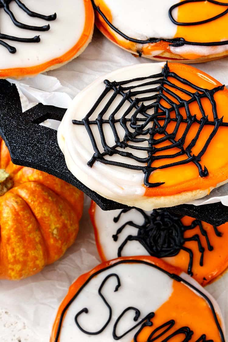 These black and white cookies for Halloween have put on their orange and white instead of black and white. They're also made with some mashed potato in the batter which keeps them soft and fresh for several days. You and your kids will love these Halloween cookies! Sponsored by Idaho Potatoes | pastrychefonline.com