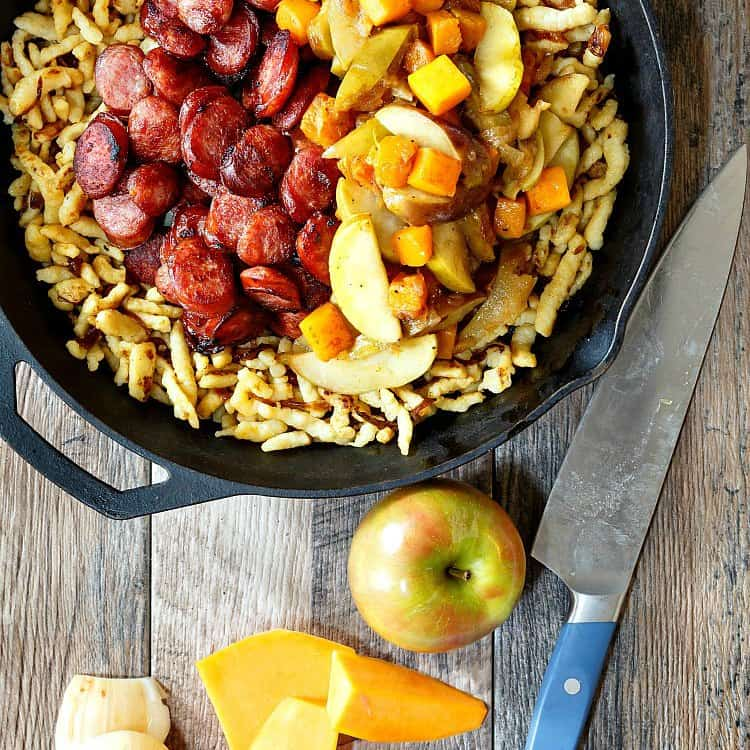 1-pot Polish sausage with apples, onions, and butternut squash from Pastry Chef Online