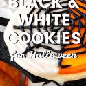 black and white cookies for halloween pin image