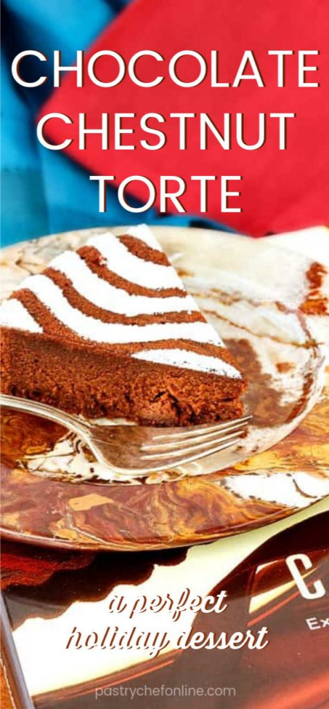 """pin image for chocolate chestnut torte showing slice of torte on a plate. Text reads """"chocolate chestnut torte"""""""