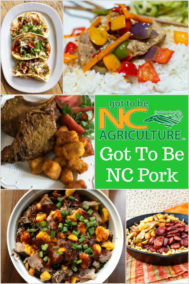 A round up of 5 delicious meals featuring local North Carolina pork available at farmers markets throughout the state. #gottobencpork