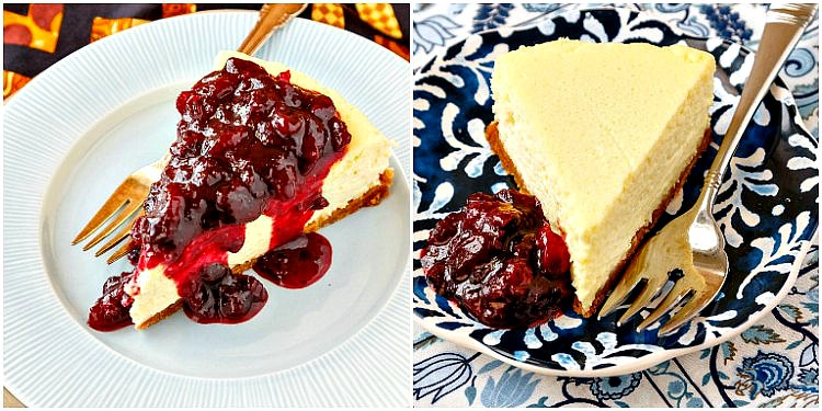 collage of two photos of roasted corn cheesecake. one with fruit compote spooned over the top and one with the compote next to the cheesecake