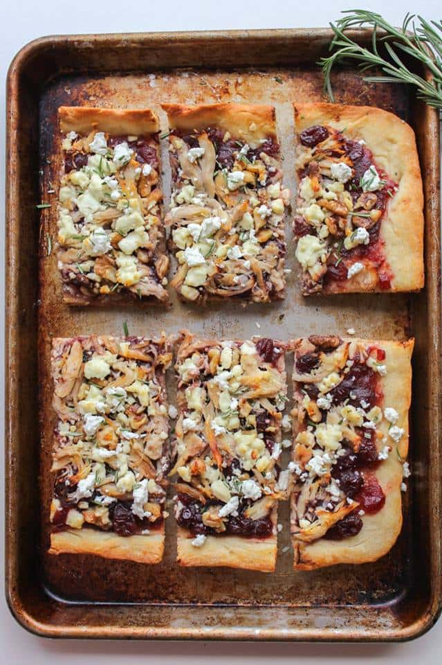 chicken cranberry walnut pizza with goat cheese