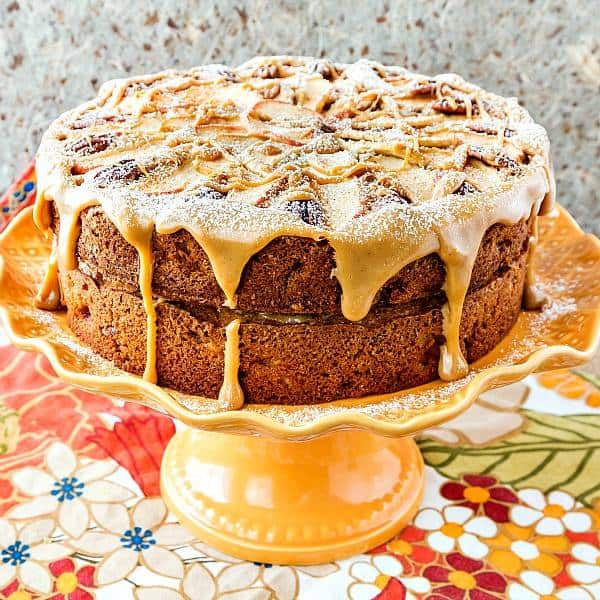 perfect fresh and dried apple pecan cake