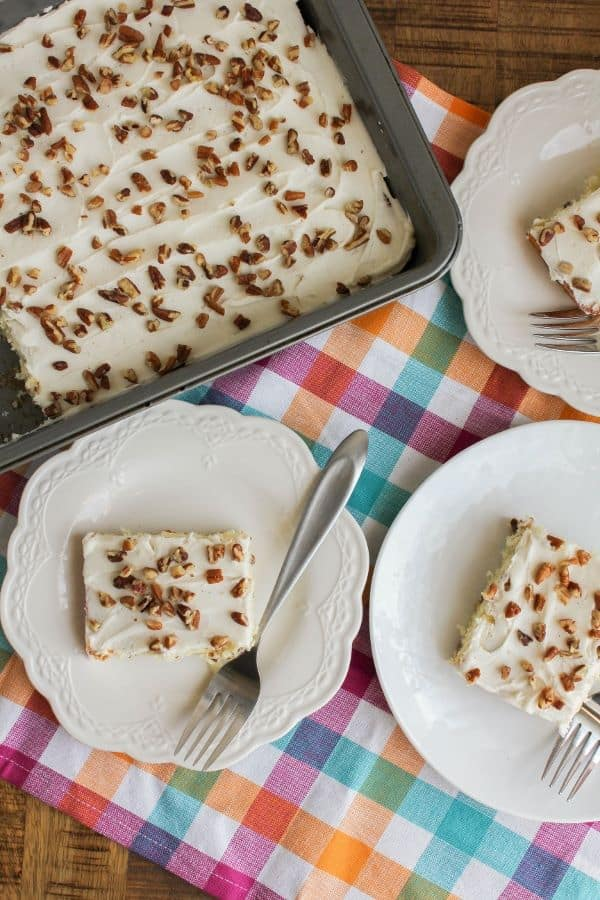 coconut pecan cake with coconut rum frosting