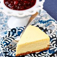 Roasted Corn Cheesecake with Cranberry Blueberry Compote