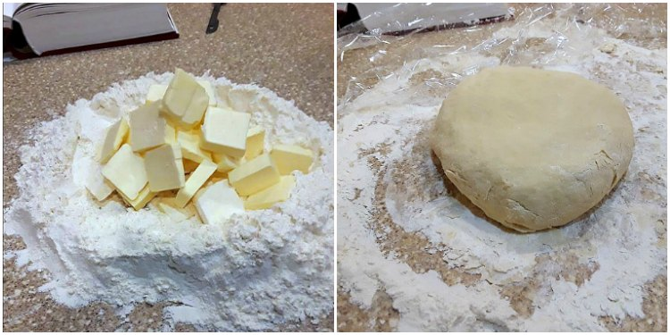 foundation paste from The Epicurean 2 images--one of flour with pieces of butter on top and one with the finished dough on a floured countertop