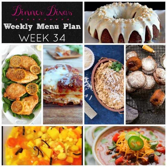 dinner divas weekly meal plan, week 34 brings you chicken, pasta, beef, soup, plus two desserts!