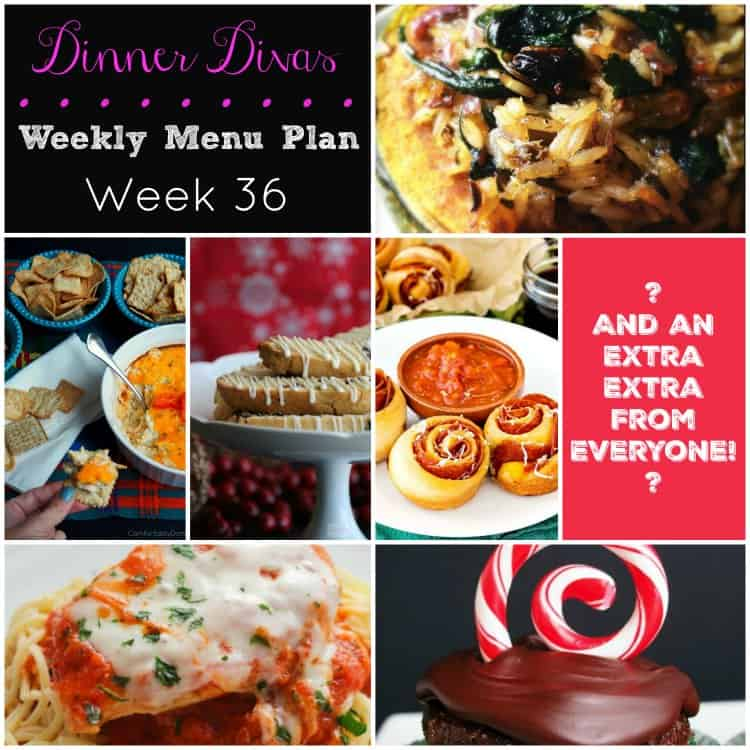 Dinner Divas Weekly Meal Plan, Week 36 offers 4 mains and 3 extras to add to your holiday recipe arsenal. Enjoy!