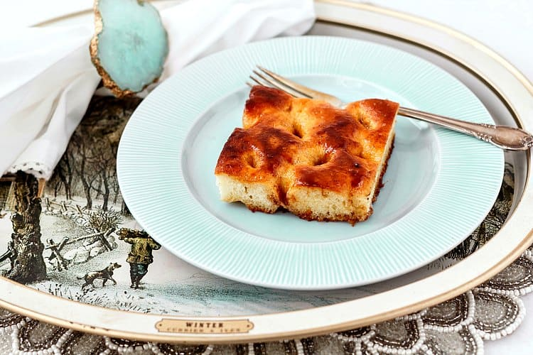 If you are looking for the perfect Christmas Coffee Cake, look no further than the Moravian Sugar Cake. A sweet, enriched potato dough positively drowning in brown sugar-cinnamon-buttery goodness. This cake is hard to beat. I was honored to partner with the Idaho Potato Commission to create this recipe. | pastrychefonline.com