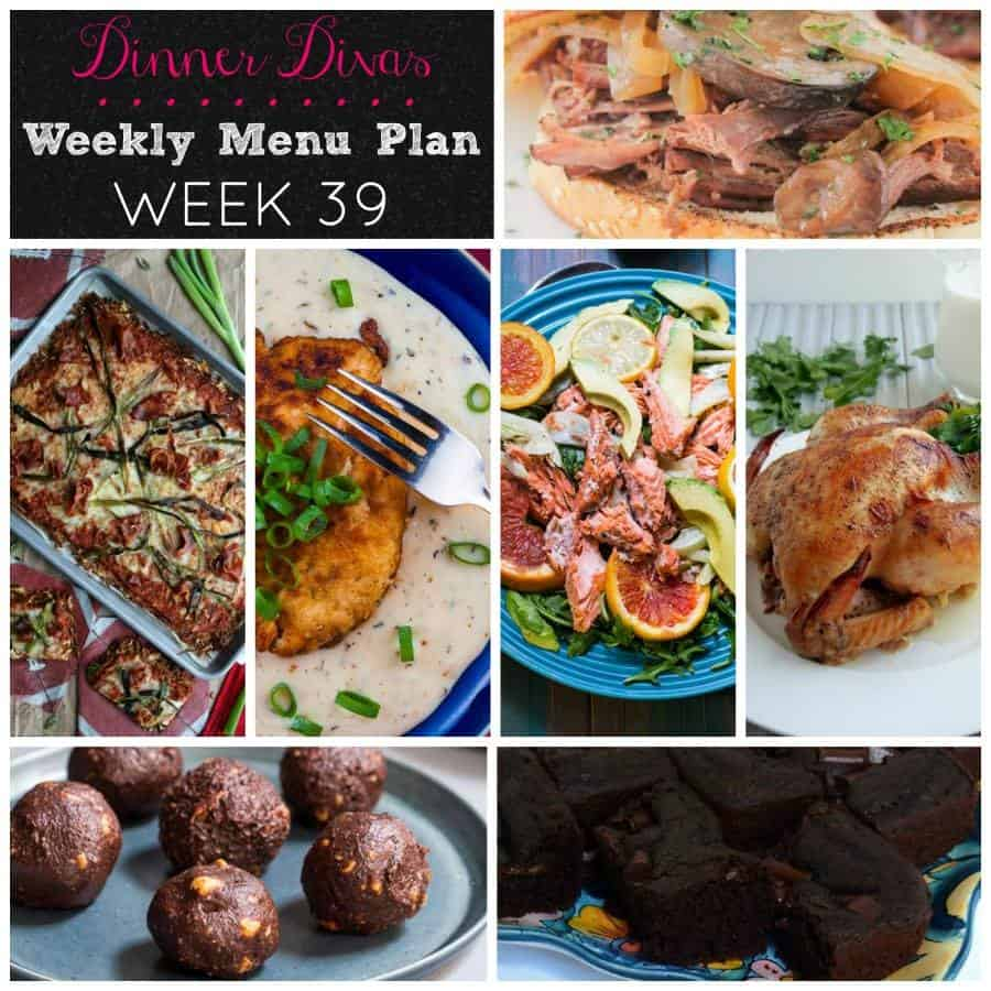 Dinner Divas weekly meal plan, week 39, features a slow roasted salmon dish, two braises, a gluten-free pizza, fried chicken plus 2 chocolate treats. Enjoy! | pastrychefonline.com