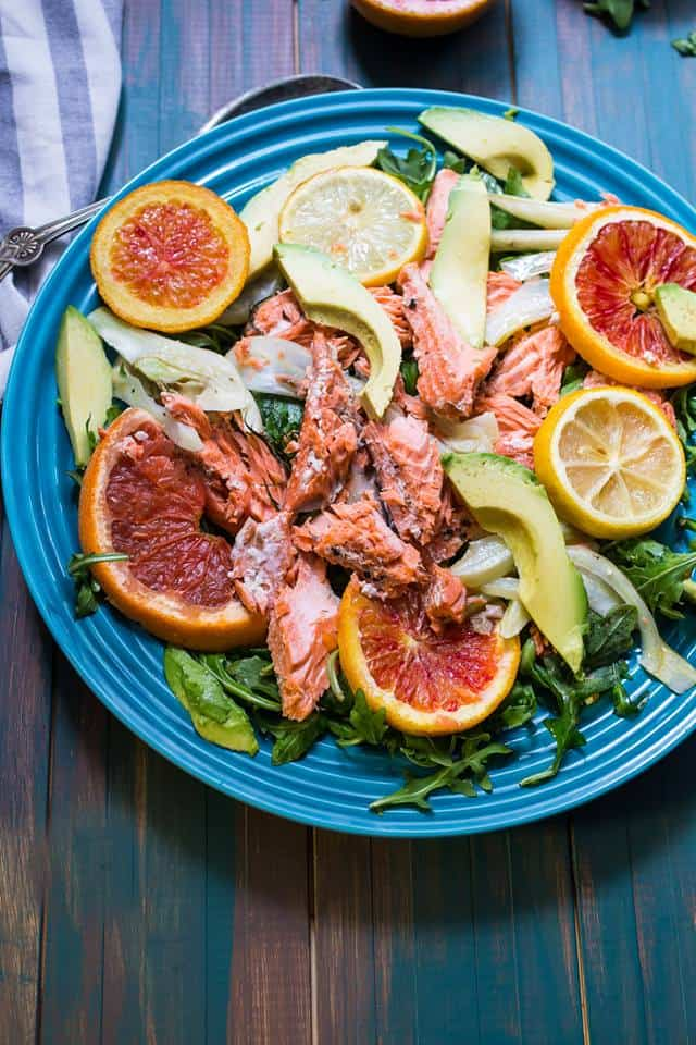slow roasted salmon with citrus fennel and avocado