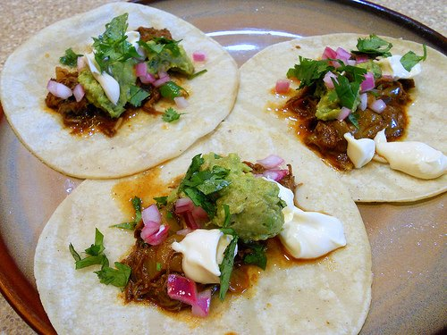 beef cheek and cabbage tacos