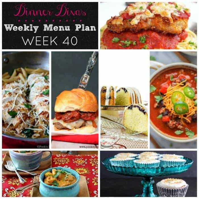 Weekly Meal Plan, Week 40 brings you chicken, pasta, a vegetarian Indian dish, chili, a fantastic burger, plus two extras! | pastrychefonline.com