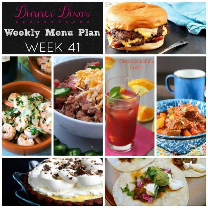 dinner divas weekly meal plan, week 41