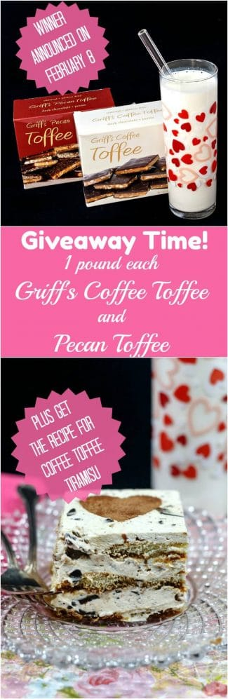 This Griff's Toffee #sponsored giveaway is for 2 pounds of Griff's Toffee, one pound each of their Coffee Toffee and their original flavor, Pecan Toffee. The giveaway runs for one week, from February 1, 2018-February 7, 2018, so be sure to enter! You will also want the recipe for the easy eggless tiramisu with Griff's Coffee Toffee crunchy bits! | pastrychefonline.com