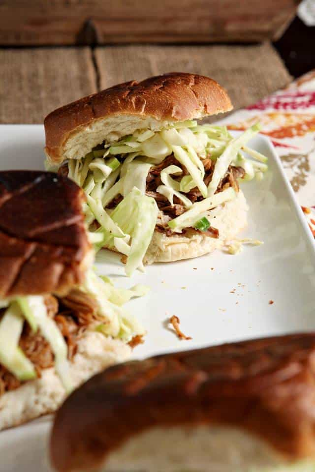 apple cider pulled pork with apple cabbage slaw