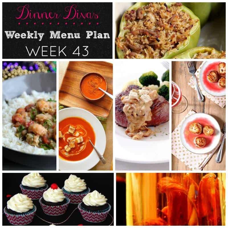 Dinner Divas weekly meal plan, Week 43, featuring Mardi Gras and Valentine's recipes. Enjoy!