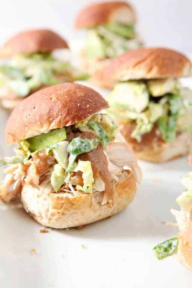 shredded applesauce chicken sliders