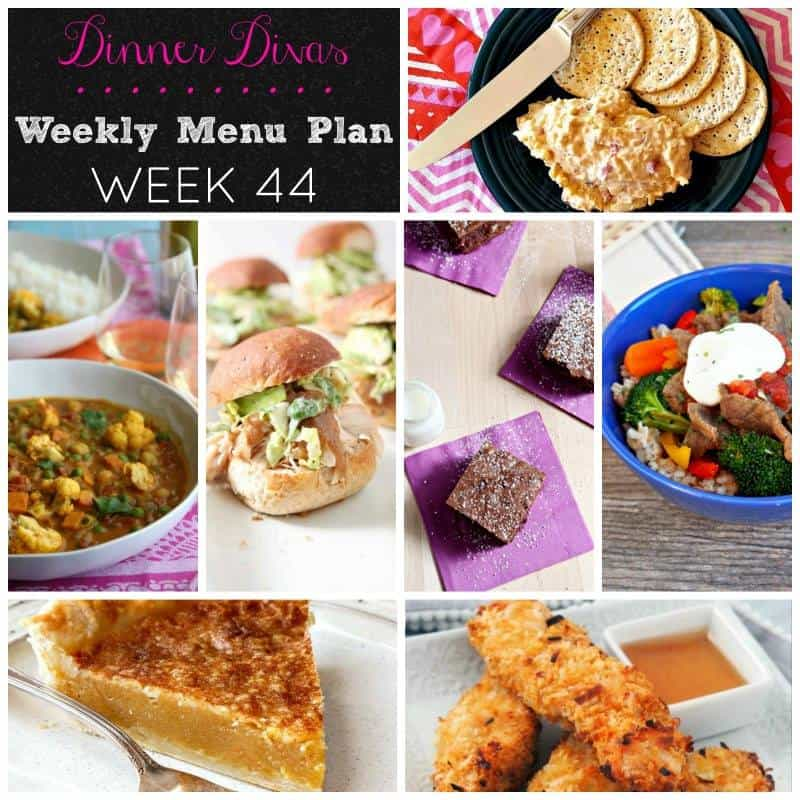 dinner divas weekly meal plan, week 44. This week, we're bringing you chicken, beef, a vegan curry, Friday snack food, a pie and some crazy amazing brownies. Enjoy!