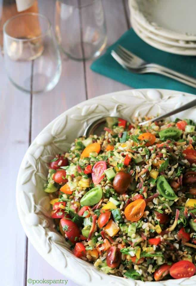 summer grain salad with mixed vegetables