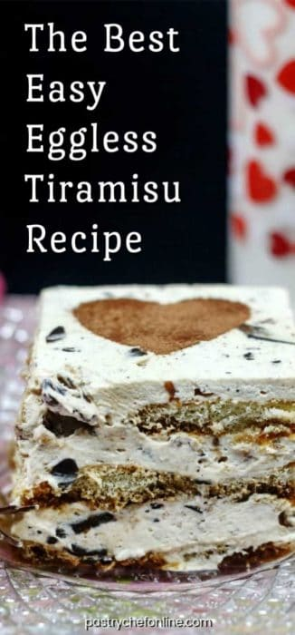 "a piece of eggless tiramisu text reads ""the best easy eggless tiramisu recipe"""