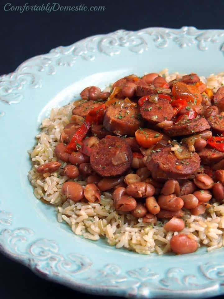 slow cooker chicken andouille beans and rice