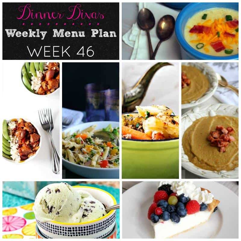 Here are the Dinner Divas weekly meal plan offerings for you this week. We've got a couple of hearty soups, a great pasta dish, a chicken and rice bowl, an Irish stew, and two desserts! It's a banner week!