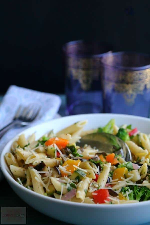 oven roasted vegetable herb pasta
