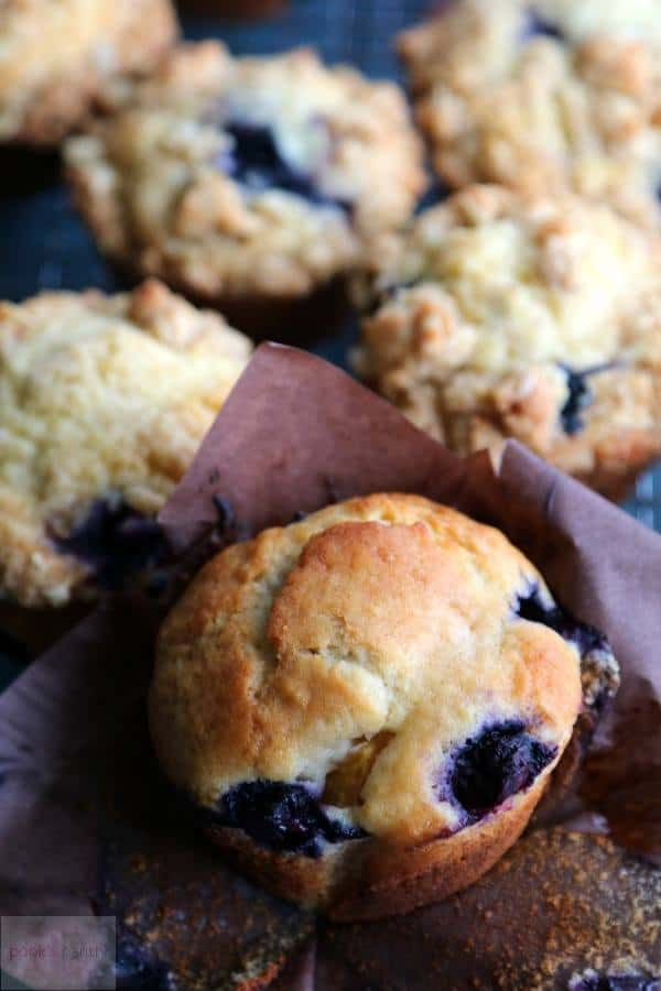 easy blueberry peach streusel muffins