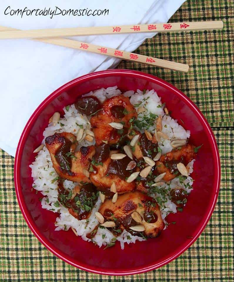 nut-free chicken satay with coconut rice
