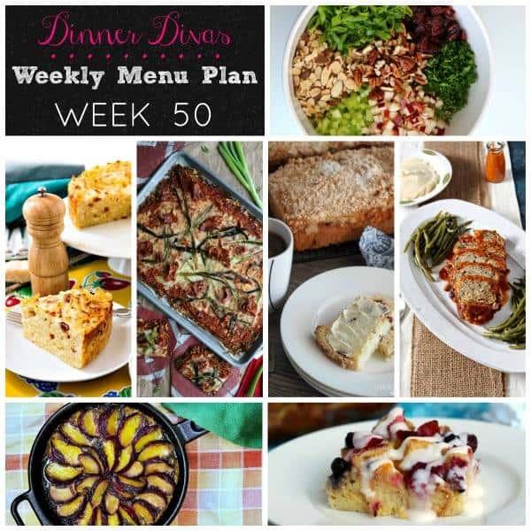 Dinner Divas weekly meal plan for week 50.