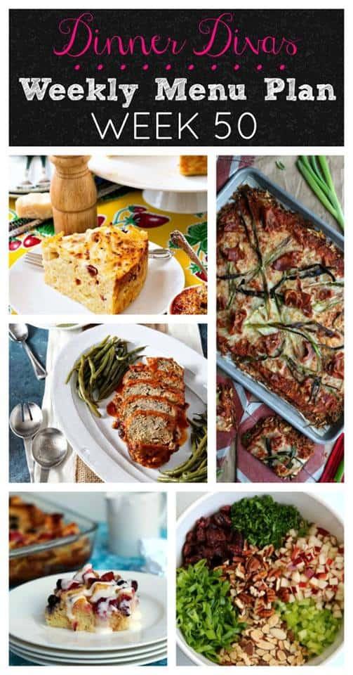 Dinner Divas weekly meal plan post for Week 50.