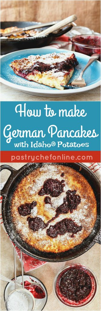 #sponsored Learn how to make German pancakes using some Idaho® russet potato to sneak in a bit more nutrition. So custardy on the inside and crispy on the outside. A perfect brunch for Easter or Mother's Day. Enjoy! | pastrychefonline.com