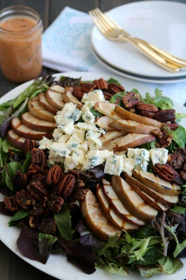 grilled pear, gorgonzola, and candied pecan salad
