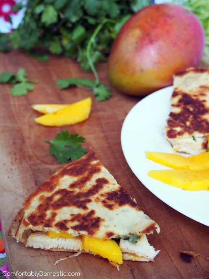 mango chicken quesadillas with brie