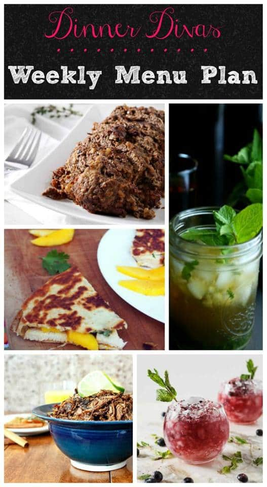 This week's menu plan features easy, delicious meals for you and your family. Two InstantPot recipes, a sheet pan supper, quick and easy quesadillas and pizza Friday. Plus 2 versions of  mint juleps to get you ready for The Kentucky Derby! | pastrychefonline.com