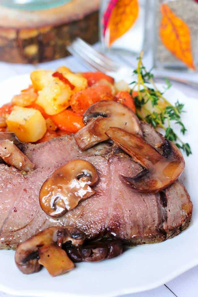 sirloin tip roast with brown butter mushrooms