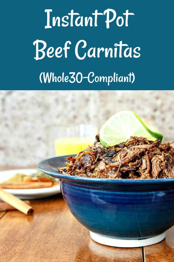 Instant Pot Beef Carnitas are smoky, spicy, rich, and moist. Pork carnitas are delicious, but try this beef version. Every bit as lip-smacking and full of flavor. Not dry like some restaurant carnitas can be. Making beef carnitas in an Instant Pot saves a ton of time and keeps the meat nice and moist. #carnitas #instantpot | pastrychefonline.com