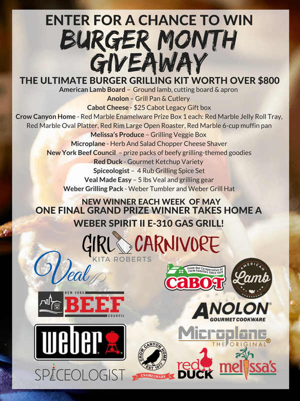 graphic for Burger Month Giveaway outlining the prizes from our sponsors including Cabot Cheese, Microplane, The New York Beef Council, and more