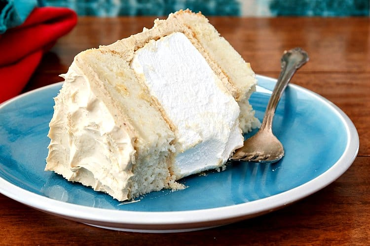 Who wouldn't want a bite of this fluffernutter cake, made with a big fat homemade marshmallow layer in the center? So fun!