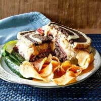 Smashed Reuben Burger with Smoky Russian Dressing