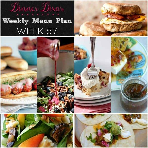 collage of recipe photos for Weekly meal plan post, Week 57